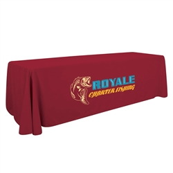6ft Economy Open Back Table Throw Thermal Imprint professionally present your company image at events and trade shows. Custom table throws and logo table runners will give your booth a tidy appearance that will draw in attendees