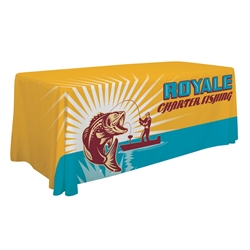8ft Economy Table Throw Dye-Sub Full-Color Print. Stylish and elegant, Creative Banners table throws professionally present your company image at events and trade shows. These premium quality polyester twill table throws are easy to care