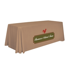 8ft Stylish and elegant, Creative Banners 8ft Standard Table Throw 1-Color Imprint professionally present your company image at events and trade shows. These premium quality polyester twill table throws are easy to care for and can be easily washed.