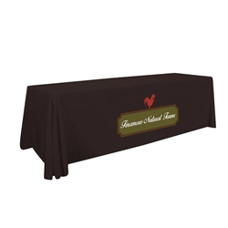 8ft Stylish and elegant, Creative Banners Standard Table Throw 2-Color Thermal Imprint professionally present your company image at events and trade shows. These premium quality polyester twill table throws are easy to care for and can be easily washed.