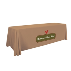 8ft Stylish and elegant, Creative Banners Standard Table Throw Full Color Thermal Imprint professionally present your company image at events and trade shows. These premium quality polyester twill table throws are easy to care for and can be easily washed