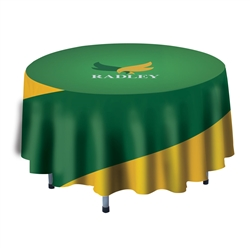 4ft Stylish and elegant, Creative Banner Round Table Throw with 25in Overhang professionally present your company image at events and trade shows. These premium quality polyester twill table throws are easy to care for and can be easily washed.