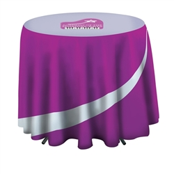 31.5in Stylish and elegant, Creative Banner Cafe Round Table Throw with 27in Overhang professionally present your company image at events and trade shows. These premium quality polyester twill table throws are easy to care for and can be easily washed.