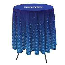 31.5in Stylish and elegant, Creative Banner Bar Round Table Throw with 33.25in Overhang professionally present your company image at events and trade shows. These premium quality polyester twill table throws are easy to care for and can be easily washed.