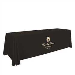 8ft Stain Resistant Economy Throw Full Color Thermal Imprint sit comfortably behind your table with this open back design. Custom table throws and logo table runners will give your booth a tidy appearance that will draw in attendees