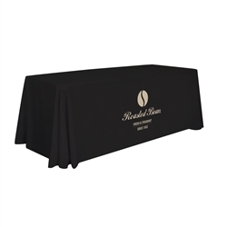 6ft Stain Resistant Economy Throw 1 Color Thermal Imprint sit comfortably behind your table with this open back design. Custom table throws and logo table runners will give your booth a tidy appearance that will draw in attendees