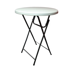Showgoer Bar Height Folding Round Tables for use indoors or outdoors, the Showgoer Round Tables make setting up an event or trade show effortless. The steel frame and molded plastic top offers a durable design yet folds up easily for storage or transport.