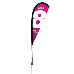 Outdoor promotional sail flags get your message noticed!  Custom printed 6ft Premium Teardrop marketing flags are perfect for events, trade shows, expos, fairs and in front of retail locations.