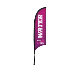 Outdoor promotional sail flags get your message noticed!  Custom printed 7ft Premium Razor marketing flags are perfect for events, trade shows, expos, fairs and in front of retail locations.