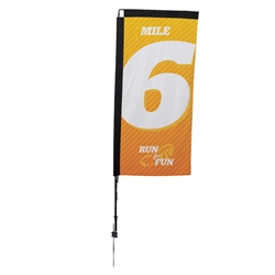 Outdoor promotional sail flags get your message noticed!  Custom printed 7ft Premium Rectangle marketing flags are perfect for events, trade shows, expos, fairs and in front of retail locations.