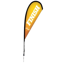 Outdoor promotional sail flags get your message noticed!  Custom printed 8ft Premium Teardrop marketing flags are perfect for events, trade shows, expos, fairs and in front of retail locations.