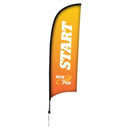 Outdoor promotional sail flags get your message noticed!  Custom printed 9ft Premium Razor marketing flags are perfect for events, trade shows, expos, fairs and in front of retail locations.