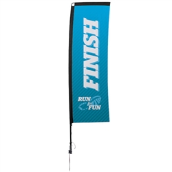 Outdoor promotional sail flags get your message noticed!  Custom printed 10ft Premium Rectangle marketing flags are perfect for events, trade shows, expos, fairs and in front of retail locations.