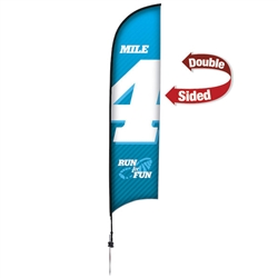 Outdoor promotional sail flags get your message noticed!  Custom printed 13ft Premium Razor marketing flags are perfect for events, trade shows, expos, fairs and in front of retail locations.