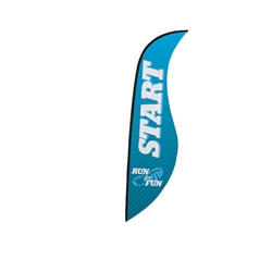 Outdoor promotional sail flags get your message noticed!  Custom printed 13ft Premium Sabre marketing flags are perfect for events, trade shows, expos, fairs and in front of retail locations.