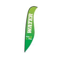 Outdoor promotional sail flags get your message noticed!  Custom printed 17ft Premium Sabre marketing flags are perfect for events, trade shows, expos, fairs and in front of retail locations.