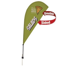 Outdoor promotional sail flags get your message noticed!  Custom printed 6.5ft Value Teardrop marketing flags are perfect for events, trade shows, expos, fairs and in front of retail locations.