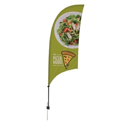 Outdoor promotional sail flags get your message noticed!  Custom printed 7.5ft Value Razor marketing flags are perfect for events, trade shows, expos, fairs and in front of retail locations.