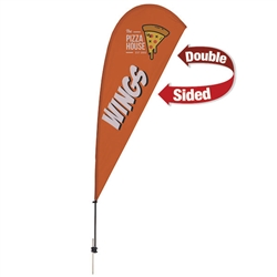 Outdoor promotional sail flags get your message noticed!  Custom printed 9.5ft Value Teardrop marketing flags are perfect for events, trade shows, expos, fairs and in front of retail locations.
