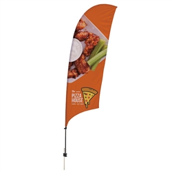 Outdoor promotional sail flags get your message noticed!  Custom printed 10.5ft Value Razor marketing flags are perfect for events, trade shows, expos, fairs and in front of retail locations.