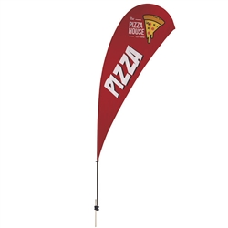 Outdoor promotional sail flags get your message noticed!  Custom printed 13ft Value Teardrop marketing flags are perfect for events, trade shows, expos, fairs and in front of retail locations.