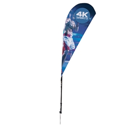 Outdoor promotional sail flags get your message noticed!  Custom printed 6ft Streamline Teardrop marketing flags are perfect for events, trade shows, expos, fairs and in front of retail locations.