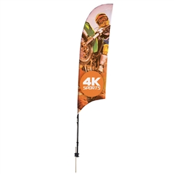 Outdoor promotional sail flags get your message noticed!  Custom printed 7ft Streamline Razor marketing flags are perfect for events, trade shows, expos, fairs and in front of retail locations.