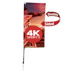 Outdoor promotional sail flags get your message noticed!  Custom printed 7ft Streamline Rectangle marketing flags are perfect for events, trade shows, expos, fairs and in front of retail locations.