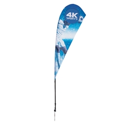 Outdoor promotional sail flags get your message noticed!  Custom printed 8ft Streamline Teardrop marketing flags are perfect for events, trade shows, expos, fairs and in front of retail locations.