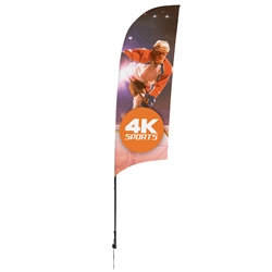 Outdoor promotional sail flags get your message noticed!  Custom printed 9ft Streamline Razor marketing flags are perfect for events, trade shows, expos, fairs and in front of retail locations.