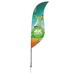 Outdoor promotional sail flags get your message noticed!  Custom printed 9ft Streamline Sabre marketing flags are perfect for events, trade shows, expos, fairs and in front of retail locations.