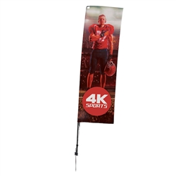 Outdoor promotional sail flags get your message noticed!  Custom printed 10ft Streamline Rectangle marketing flags are perfect for events, trade shows, expos, fairs and in front of retail locations.