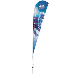Outdoor promotional sail flags get your message noticed!  Custom printed 11.5ft Streamline Teardrop marketing flags are perfect for events, trade shows, expos, fairs and in front of retail locations.