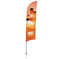 Outdoor promotional sail flags get your message noticed!  Custom printed 13ft Streamline Razor marketing flags are perfect for events, trade shows, expos, fairs and in front of retail locations.