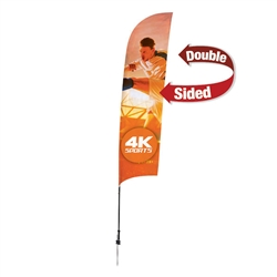 Outdoor promotional sail flags get your message noticed!  Custom printed 12ft Streamline Razor marketing flags are perfect for events, trade shows, expos, fairs and in front of retail locations.