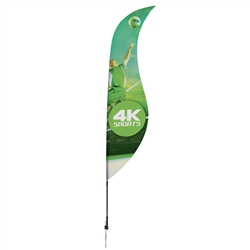 Outdoor promotional sail flags get your message noticed!  Custom printed 13ft Streamline Sabre marketing flags are perfect for events, trade shows, expos, fairs and in front of retail locations.