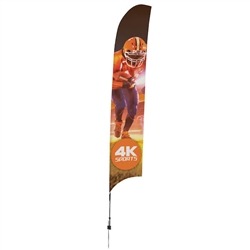 Outdoor promotional sail flags get your message noticed!  Custom printed 17ft Streamline Razor marketing flags are perfect for events, trade shows, expos, fairs and in front of retail locations.