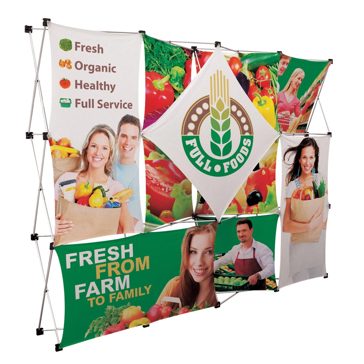 10ft Geometrix Pop Up Display | 12-quad wall with 10 banners ...