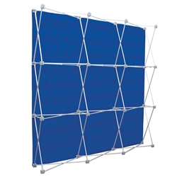 8ft X 8in Deluxe Geometrix Double-Sided Tension Fabric Backwall. Eliminate background distractions and bring focus to your graphic banners. The super poly knit flag fabric back wall includes a blockout liner for double-sided printing.