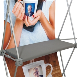 Deluxe GeoMetrix Displays Internal Straight Gray Shelf. Conveniently display your products! Strong, durable; Shelves hold up to 15 lbs; For use on our 10ft Straight Show N Rise display and all of our Deluxe GeoMetrix fabric pop up displays