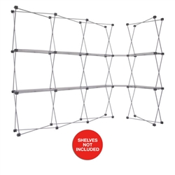 4ft x 7.5ft Deluxe GeoMetrix Connector with Shelves Display Hardware Only. Our popular Deluxe GeoMetrix display now comes in several new configurations, featuring multiple units linked together with our brand new connector shelves.