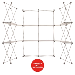 85ft x 7.5ft Deluxe GeoMetrix Connector with Shelves Display Hardware Only. Our popular Deluxe GeoMetrix display now comes in several new configurations, featuring multiple units linked together with our brand new connector shelves.