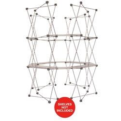 6ft x 7.5ft Deluxe GeoMetrix Connector with Shelves Display Hardware Only. Our popular Deluxe GeoMetrix display now comes in several new configurations, featuring multiple units linked together with our brand new connector shelves.