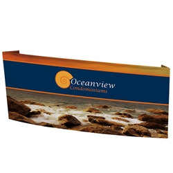 8ft x 3.7ft x 1.36ft (L) Wide EuroFit Reception Counter Tension Fabric Floor Double-Sided Display Kit will command attention at any trade show or event. The attractive shape of this reception podium is sure to catch their eye at your trade show or event.