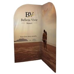 3.2ft x 6.5 x 3.5ft (L) EuroFit Backwall Corner Tension Fabric Double-Sided Display Kit will command attention at any trade show or event.  EuroFit backwall corner is a simple add on display that can transform your standard backwall into a complete exhibi