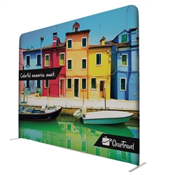 10ft x90in EuroFit Wall Floor Tension Fabric Display Kit. These double-sided backdrops weighs 75% less than a standard pop-up display. Tension fabric displays are easily transported, and are known for their easy assembly, light weight and affordable price