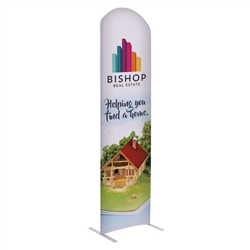 2ft x 7ft EuroFit Arc Kit. These double-sided displays weigh 75% less than standard pop-up displays.