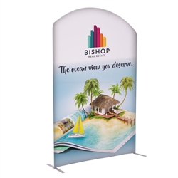 5ft x 7ft EuroFit Arc Kit. These double-sided displays weigh 75% less than standard pop-up displays.