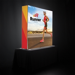 5ft x 5ft Verge Glo Tabletop Backlit Single-Sided Pop Up Display w/ Ladder Lights Single-Sided (Graphic & Hardware)