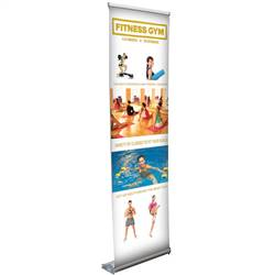 24in x 65-79in Stratus No-Curl Opaque Fabric Retractable Banner (Graphic & Hardware)